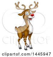 Clipart Of A Happy Red Nosed Reindeer Royalty Free Vector Illustration by AtStockIllustration