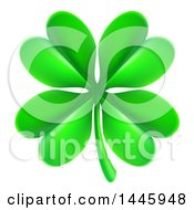 Clipart Of A Green St Patricks Day Four Leaf Clover Royalty Free Vector Illustration
