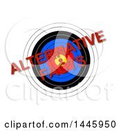 Clipart Of A Target With Red Diagonal Alternative Facts Text On A White Background Royalty Free Illustration