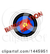 Clipart Of A Target With Red Diagonal Immigration Ban Text On A White Background Royalty Free Illustration