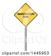 Clipart Of A 3d Immigration Ban Yellow Warning Sign On A White Background Royalty Free Illustration