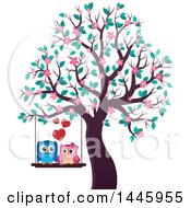 Clipart Of A Sweet Owl Couple On A Swing In A Tree With Spring Blossoms Royalty Free Vector Illustration by visekart