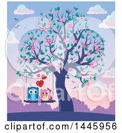 Poster, Art Print Of Sweet Owl Couple On A Swing In A Tree With Spring Blossoms At Sunset