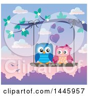 Poster, Art Print Of Sweet Owl Couple On A Swing Hanging From A Branch With Spring Blossoms At Sunset
