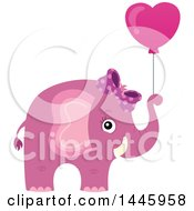 Poster, Art Print Of Cute Pink Girl Elephant Holding A Heart Shaped Valentine Balloon