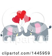 Poster, Art Print Of Cute Gray Elephant Couple Holding Heart Shaped Valentine Balloons