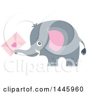 Poster, Art Print Of Cute Gray Elephant Holding A Valentine Envelope