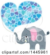 Poster, Art Print Of Cute Gray Elephant Spraying Hearts