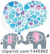 Poster, Art Print Of Cute Gray Elephant Couple Spraying Blue Hearts