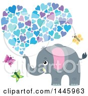 Poster, Art Print Of Cute Gray Elephant Spraying Hearts