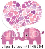 Poster, Art Print Of Heart Under Two Cute Pink Elephants