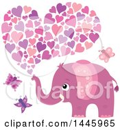 Poster, Art Print Of Cute Pink Girl Elephant With Butterflies Squirting Hearts