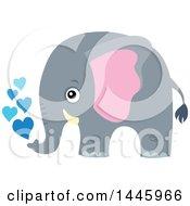 Poster, Art Print Of Cute Gray Elephant Spraying Blue Hearts