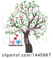 Pair Of Valentine Birds On A Swing With Hearts Hanging From A Tree With Pink Blossoms