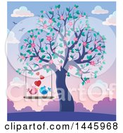Poster, Art Print Of Pair Of Valentine Birds On A Swing With Hearts Hanging From A Tree With Pink Blossoms At Sunset