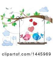 Pair Of Valentine Love Birds On A Swing Hanging From A Tree Branch With Pink Blossoms