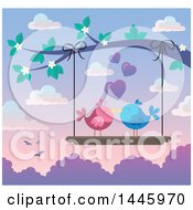 Poster, Art Print Of Pair Of Valentine Love Birds On A Swing Hanging From A Tree Branch With Pink Blossoms At Sunset