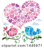 Poster, Art Print Of Pair Of Valentine Love Birds On Branches Under Hearts