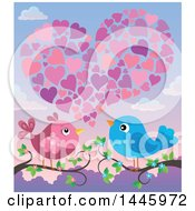 Poster, Art Print Of Pair Of Valentine Love Birds On Branches Under Hearts At Sunset