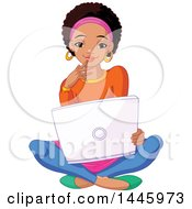 Clipart Of A Beautiful Young Black Female College Student Sitting On The Floor With A Laptop Royalty Free Vector Illustration