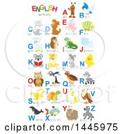 Poster, Art Print Of Chart Of Cute Animals And Insects With Alphabet Letters