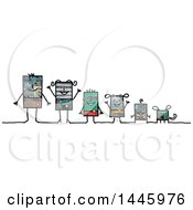 Clipart Of A Robotic Family And Their Dog On A White Background Royalty Free Illustration