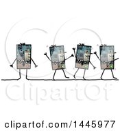 Clipart Of Robotic Business Men Walking And Standing On A White Background Royalty Free Illustration