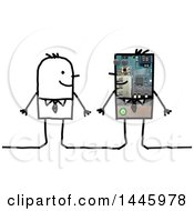 Poster, Art Print Of Stick Business Man With His Robot Clone On A White Background