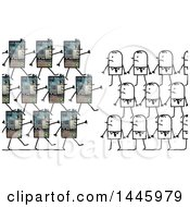 Poster, Art Print Of Marching Army Of Robots And Stick Business Men In A War On Humans On A White Background