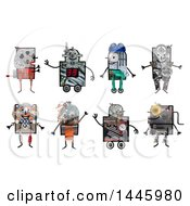 Robots Made Of Varius Materials On A White Background