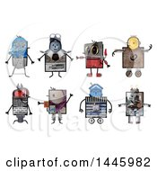 Clipart Of Robots Made Of Varius Materials On A White Background Royalty Free Illustration by NL shop