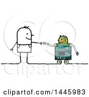 Clipart Of A Stick Man Reaching Out To Hold A Wheeled Robots Hand On A White Background Royalty Free Illustration