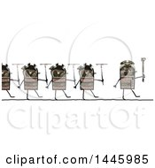 Line Of Marching Soldier Robots Going To War On A White Background
