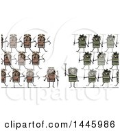 Clipart Of A Clash Of Marching Soldier Robots Going To War On A White Background Royalty Free Illustration