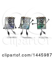 Happy Computer Robots On A White Background