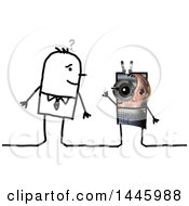 Clipart Of A Sketched Stick Business Man Looking At An Alien On A White Background Royalty Free Illustration