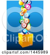 Clipart Of A Box With 3d Lottery Jackpot Balls Over Blue Royalty Free Vector Illustration
