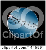 Poster, Art Print Of Metallic Round Frame With Distorted Music Notes