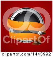 Poster, Art Print Of 3d Music Speaker With An Orange Banner Over Red