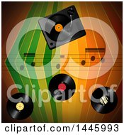 Poster, Art Print Of Colorful Stripes Background With Music Notes And Vinyl Records