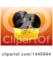 Poster, Art Print Of 3d Box Of Music Notes And Vinyl Record Albums Over Orange Waves