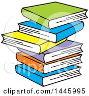 Clipart Of A Cartoon Stack Of Six Colorful Books Royalty Free Vector Illustration