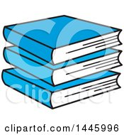 Clipart Of A Cartoon Stack Of Blue Books Royalty Free Vector Illustration by Johnny Sajem