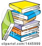 Clipart Of A Cartoon Stack Of Colorful Books Royalty Free Vector Illustration by Johnny Sajem