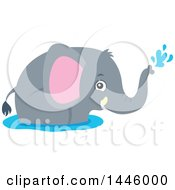 Clipart Of A Cute Gray Elephant Playing In Water Royalty Free Vector Illustration