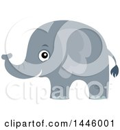 Clipart Of A Cute Gray Elephant Royalty Free Vector Illustration