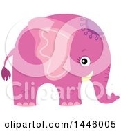 Clipart Of A Cute Pink Girl Elephant Royalty Free Vector Illustration