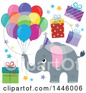 Clipart Of A Cute Gray Elephant With Birthday Party Balloons Stars And Gifts Royalty Free Vector Illustration