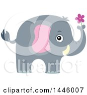 Clipart Of A Cute Gray Elephant Holding A Purple Flower Royalty Free Vector Illustration