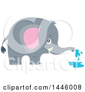 Clipart Of A Cute Gray Elephant Spraying Water Royalty Free Vector Illustration